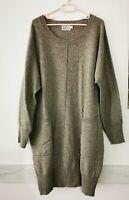 THE MASAI Clothing Company Kleid mit Taschen 80% Wolle Gr. L braun #LRZ1018