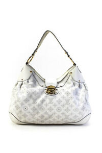Louis Vuitton Womens Leather Monogram Mahina Hobo Shoulder Handbag White