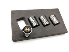 Gunmetal Black Chrome Tire Valve Stem Caps DODGE Ram Viper Charger Challenger