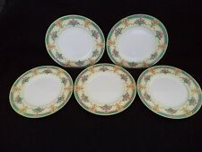 Royal Worcester china Melba 5 dinner plates 10.5in ivory roses turquoise 1920s