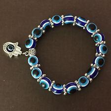 (2) Blue Hamesh Hamsa Against Evil Eye Turkey Womens Bracelet