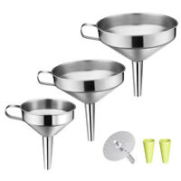 ALS_ Stainless Steel Wide Mouth Wine Oil Honey Funnel Detachable Strainer Filter