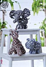 Knitting Pattern Giraffa Ippopotamo Elefante GIOCATTOLI Knitting Pattern King Cole 9062