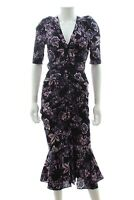 Veronica Beard 'Kent' Floral Print Ruched Silk Dress / Black, Purple