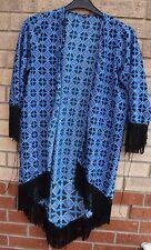 INFLUENCE BLUE PINK BLACK BAROQUE PAISLEY FRINGE TASSEL KIMONO COAT BLAZER S M