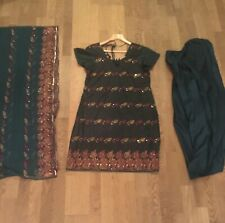 Dark Green Embroidered Asian Indian Pakistani Salwar Kameez Suit Dress - Size 14