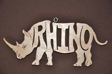 Rhino Animal Rhinoceros  Wood Toy Christmas Ornament Gift Tag New USA
