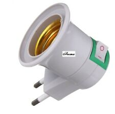 Lamp Base E27 LED Light Male Socket to EU Type Plug Adapter Converter for Bulb