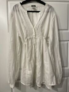 Redoute Creation White Baggy Long Shirt Size 14