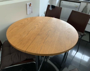 Round Wood Dining Table (foldable) & 4 Chairs