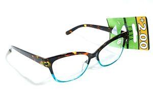 Womens Envy Optics Premium Reading Glasses Style 79441 Tortoise & Teal +2.00