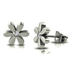 316L Surgical Stainless Steel Cubic Zirconia CZ Flower Daisy Ear Studs Earrings