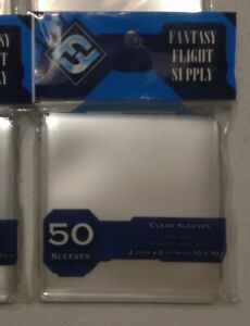 Fantasy Flight Supply CLEAR SLEEVES Square 70x70mm (blue) 50ct - New