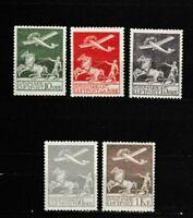 S35751 Denmark 1925/29 MNH 1st Air Mail Set #A1/A5 5v