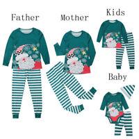 Christmas Family Matching Cute Pajamas Adult Women Kids Baby Sleepwear Set Plus