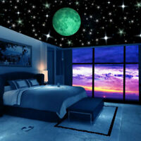 230x Stars & Moon Wall Stickers Kids Room Luminous Decor Glow In The Dark Decal