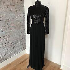 Vintage Joan Leslie by Kasper Gown Maxi Dress Beaded Long Sleeve Mock Turtleneck
