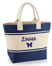 Personalizzato Da Donna Farfalla Tela Borsa Spiaggia/Shopping Grande, Blu scuro o verde