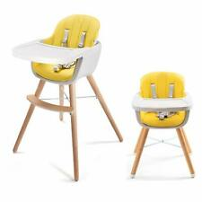 Adjustable Wood High Chair Baby Toddlers Convertible Feeding Highchair w/ tray