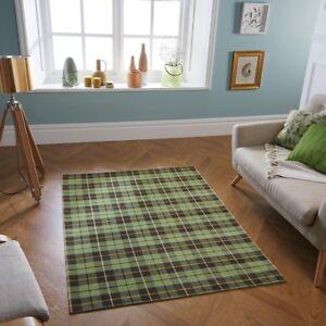 Cottage Green Tartan Checked Anti-Slip Rug Runner Doormat Flatweave Country