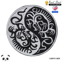 YIN YANG Dragon Embroidered Iron On Sew On Patch Badge