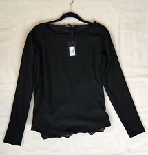 FORNARINA Women's Blouse Long Sleeve Sheer Back Top Shirt Black Black Medium