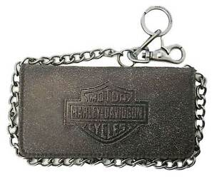 Harley-Davidson Men's Burnished Embossed B&S Biker Tri-Fold Tall Leather Wallet