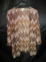 Chico's Size 3 XL Brown Cardigan Sweater 3/4 Sleeve Open Front Knit Shirt Top