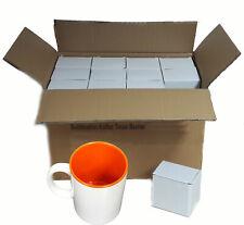 (1,39€/1Stk) 36x Sublimation Fototasse Kaffee Tassen Becher WEISS - INNEN Orange