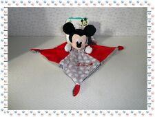 $ - Doudou Plat Carré  Mickey Rouge Gris Noir Nuages Etoile Disney Nicotoy