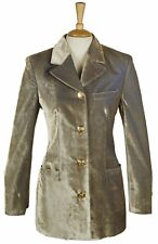 RARE VERSUS GIANNI VERSACE CRUSHED SILVER VELVET JACKET SIZE 10 38 ITALY 42 US 6