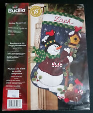 "Bucilla Folksy Snowman 18"" Felt Applique Christmas Stocking Kit Cardinal NEW"
