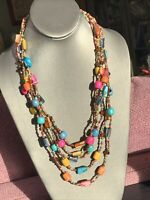 """Vintage Multi 5 Strand Mother Of Pearl Seed Bead Bohemian  Necklace 24"""""""