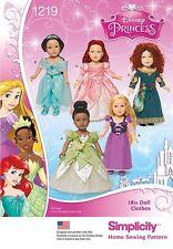 Simplicity Creative Patterns 1219 ---18-Inch Disney Princess Doll Clothes