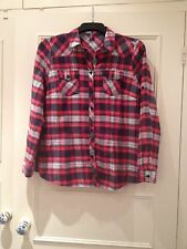 Evie Peacocks Red White Blue Cotton Country Check Checked Shirt, Size 12/14