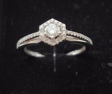 Bargain diamond engagement ring 18ct43stones total. Brilliant cut on white metal
