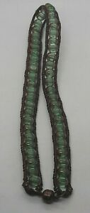 Faceted Green Czech Glass Beaded Leather Wrap Bracelet Necklace Magnetic Clasp