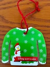 Disney Parks Donald Snowman Christmas Sweater Gift Card Christmas Ornament New