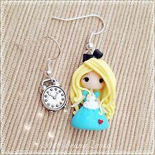 Orecchini Chibi Alice ~ Cute Disney Earrings Fimo Polymer Clay Kawaii Tea Time