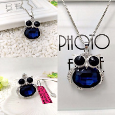 Betsey Johnson Sapphire Blue Diamond White Crystal Chubby Owl Pendant Necklace