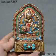 Tibet Nepal filigree 24k gold Inlay Turquoise coral Treasure king Tangka Shrines
