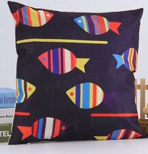 FISH Sea Life New Navy Blue LINEN-COTTON Mix Canvas CUSHION Cover, UK sale