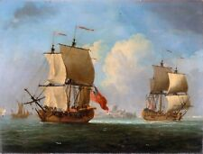Maritime Marine Art An English Sloop and a Frigate in a Light Breeze Francis