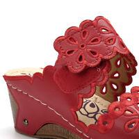 Women Summer Casual Wedge Platform Slippers Slip On Shoes Hook Loop