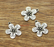 20pcs Flower Flowers Charms Garden Charms Antique Silver Tone 17x19mm 2243