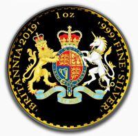 2019 UK Britannia LION & UNICORN Colorized 1oz .999 Silver Coin - Box & COA