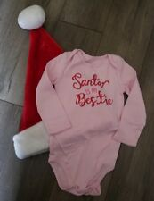 """New! Okie Dokie """"Santa is My Bestie"""" One Piece Bodysuit Size 24 Months Christmas"""
