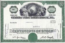 Western Union International Inc., 1963  (50 Shares) alte Aktienversion Nr. 05 !!