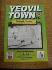 08/09/1992 Yeovil Town v Slough Town [Bob Lord Trophy] . Item appears to be in g