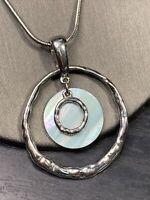 """Lia Sophia Aqua Mother Of Pearl  Drop pendant necklace  Silver  Chain 18"""""""
